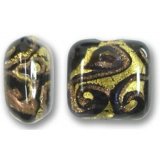 1 Murano Glass Medusa Black Goldfoil 17mm Pastel Bead