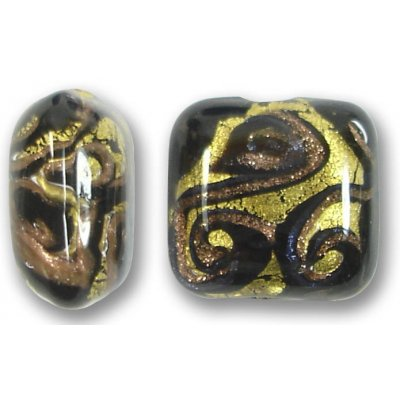 1 Murano Glass Medusa Black Goldfoil 17mm Cushion Bead