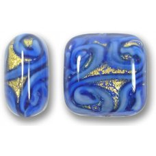 1 Murano Glass Medusa Sapphire Goldfoil 17mm Cushion Bead