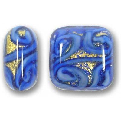 1 Murano Glass Medusa Sapphire Goldfoil 17mm Cushion Bead