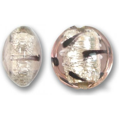 1 Murano Glass Rose White Goldfoil Lacrima 14mm Lentil Bead