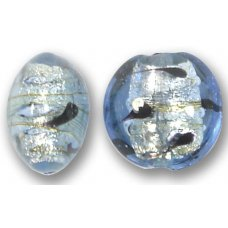 1 Murano Glass Light Sapphire White Goldfoil Lacrima 14mm Lentil Bead