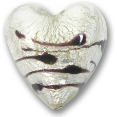 1 Murano Glass Clear White Goldfoil Lacrima 20mm Heart Bead