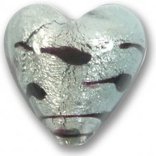 1 Murano Glass Black Diamond White Goldfoil Lacrima 20mm Heart Bead