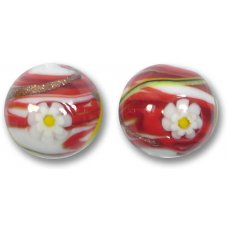 1 Murano Glass Red Medusa 16mm Round Bead