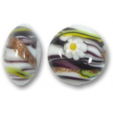 1 Murano Glass Medusa Black 16mm Lentil Bead