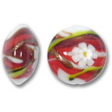 1 Murano Glass Medusa Red 16mm Lentil Bead
