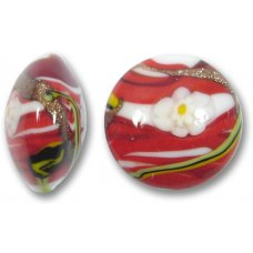 1 Murano Glass Medusa Red 22mm Lentil Bead