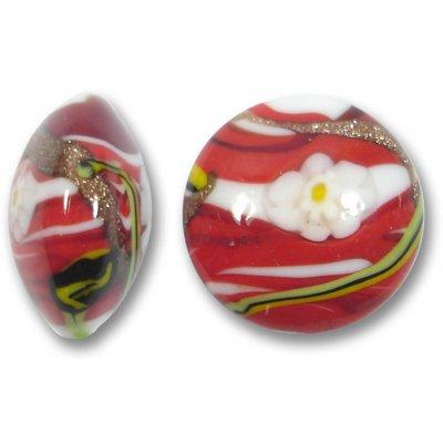 1 Murano Glass Medusa Red 22mm Lentil Bead