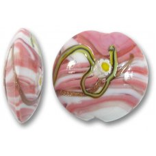 1 Murano Glass Medusa Rose 22mm Lentil Bead