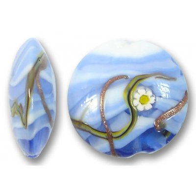 1 Murano Glass Medusa Aquamarine 22mm Lentil Bead