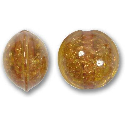 1 Murano Glass Sommerso 15mm Lentil Bead - Amber