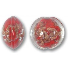 1 Murano Glass Sommerso 15mm Lentil Bead - Ruby Red