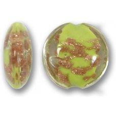 1 Murano Glass Sommerso 15mm Lentil Bead - Erba Green