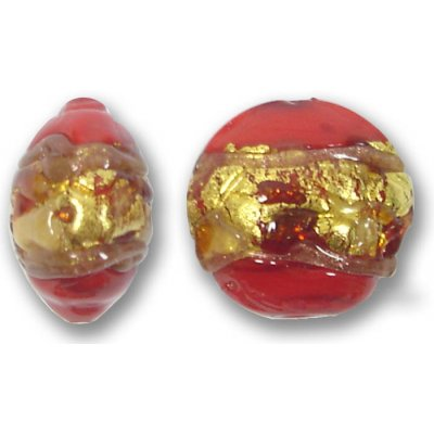 1 Murano Glass Ruby Red Goldfoiled Band 16mm Lentil Bead