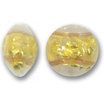 1 Murano Glass White Goldfoiled Band 16mm Lentil Bead