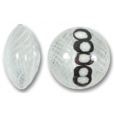 1 Murano Glass Reticello Clear Spotted 22mm Lentil Bead