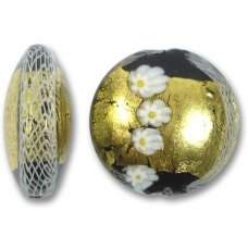 1 Murano Glass Reticello Black Spotted 36mm Lentil Bead