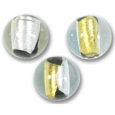 1 Murano Glass Yellow and White Gold Foiled 14mm Round Bead
