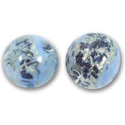 1 Murano Glass Perwinkle Blue White Goldfoiled Band 16mm Round Bead