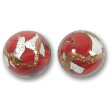 1 Murano Glass Ruby Red White Goldfoiled Patch 14mm Bead