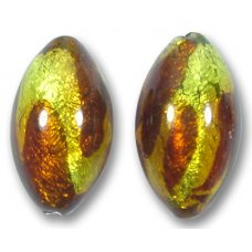 1 Murano Glass Lime and Topaz Goldfoiled 22mm Olive Bead