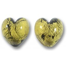 2 Murano Glass Goldfoiled 12mm Heart Beads