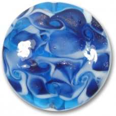 1 Murano Glass Sapphire Blue White Scirroco 48mm Disc Focal Bead
