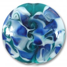 1 Murano Glass Verde Green White and Sapphire Scirroco 48mm Disc Focal Bead