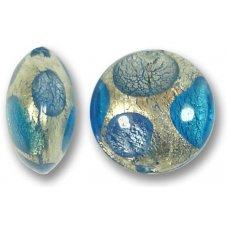 1 Murano Glass Goldfoil Extravagant Sapphire Aqua BD 16mm Lentil