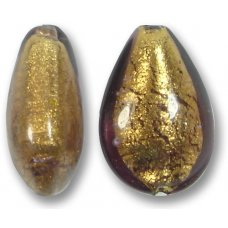 1 Murano Glass Chocolate Amethyst Gold Foiled Small Pear Drop