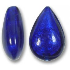 1 Murano Glass Cobalt Blue White Gold Foiled Small Pear Drop