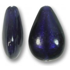 1 Murano Glass Purple Velvet White Gold Foiled Small Pear Drop