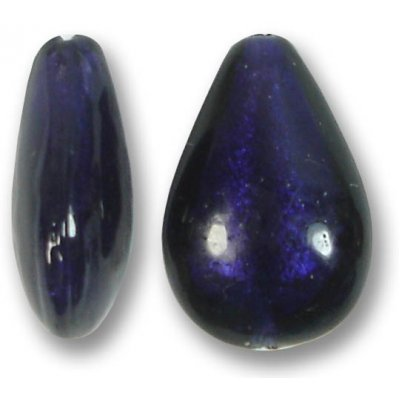 1 Murano Glass Purple Velvet White Gold Foiled Small Pear Drop