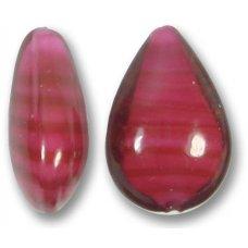 1 Murano Glass Raspberry White Core Small Pear Drop