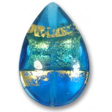 1 Murano Glass Turquoise Gold Foiled Band Large Pear Drop