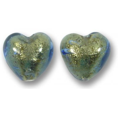 2 Murano Glass Bluino Gold Foiled 10mm Heart Beads