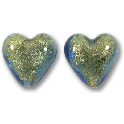 2 Murano Glass Bluino Gold Foiled 14mm Heart Beads