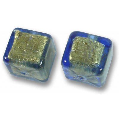 Pair Murano Glass Bluino Gold Foiled 8mm Cube Beads