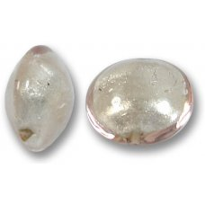 1 Murano Glass Pale Pink White Goldfoil Lentil