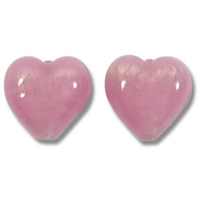 Pair Murano Glass White Gold Foiled 14mm Hearts Soft Rose Satin