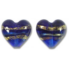 Pair 14mm Murano Glass Sapphire Gold Foiled Hearts