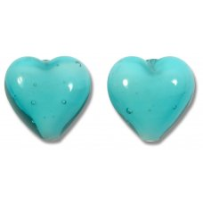 Pair Murano Glass 14mm Hearts Verde Marino White Core