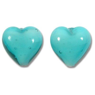 Pair Murano Glass 14mm Hearts Verde Marino White Core