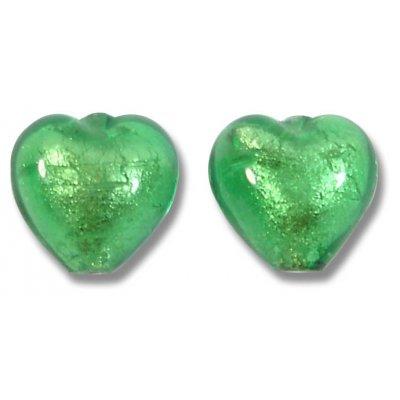 Pair Murano Glass White Gold Foiled Emerald 10mm Heart Beads