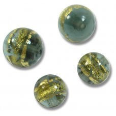 10 Murano Glass 10mm Black Diamond Gold Foiled Band Round Beads