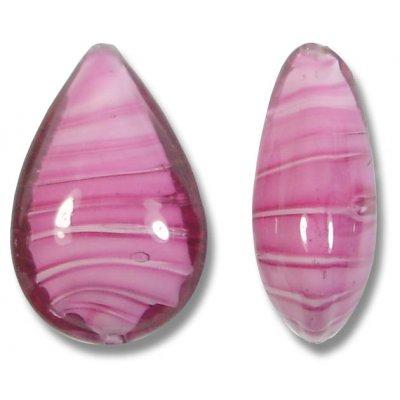 1 Murano Glass Rosa White Core Small Pear Drop Bead