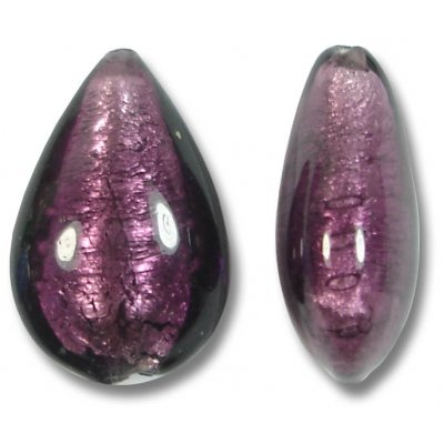 1 Murano Glass Dark Amethyst Silver Foiled Small Pear Drop