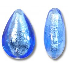 1 Murano Glass Sapphire Silver Foiled Small Pear Drop