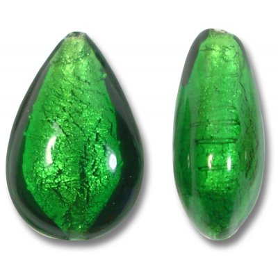 1 Murano Glass Emerald Silver Foiled Small Pear Drop